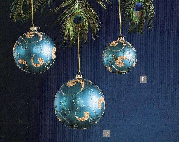 Palline tonde x 4 in vetro decorate oro 2 colori san for Lampadario palline vetro