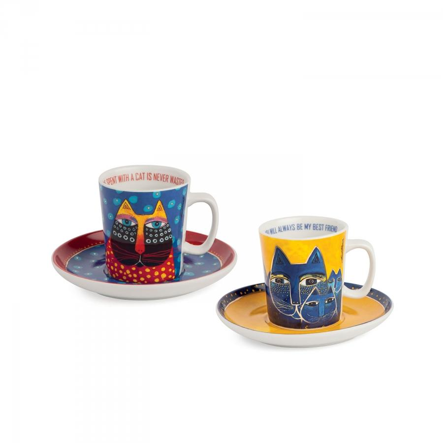 Set 2 tazze caffè con piattino in porcellana decorata  Egan LAUREL BURCH