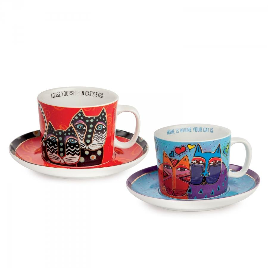 Set 2 tazze cappuccino con piattino in porcellana decorata  Egan LAUREL BURCH