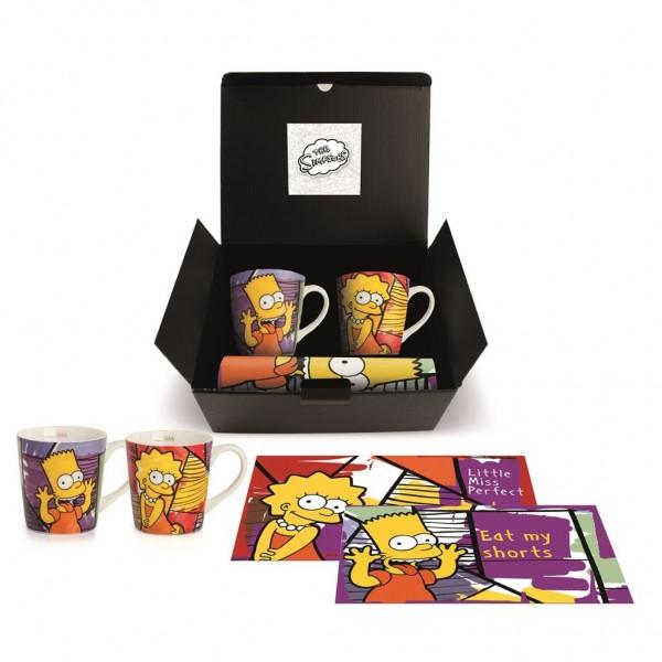 Set 2 tazze mug in porcellana decorata e tovagliette pastificate abbinate Egan THE SIMPSONS