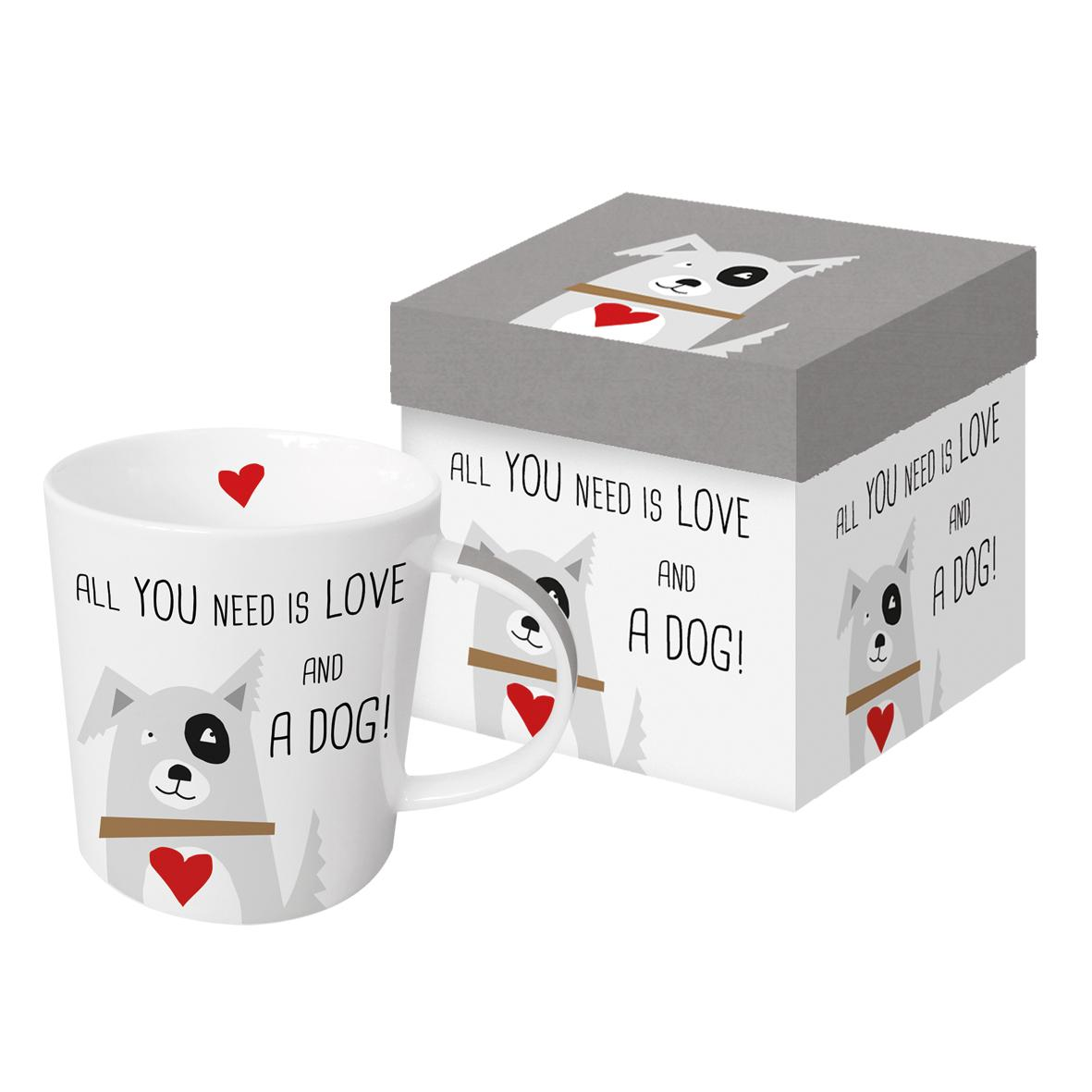 Tazza Mug in porcellana New Bone China decorata ppd ALL YOU NEED IS LOVE AND A DOG