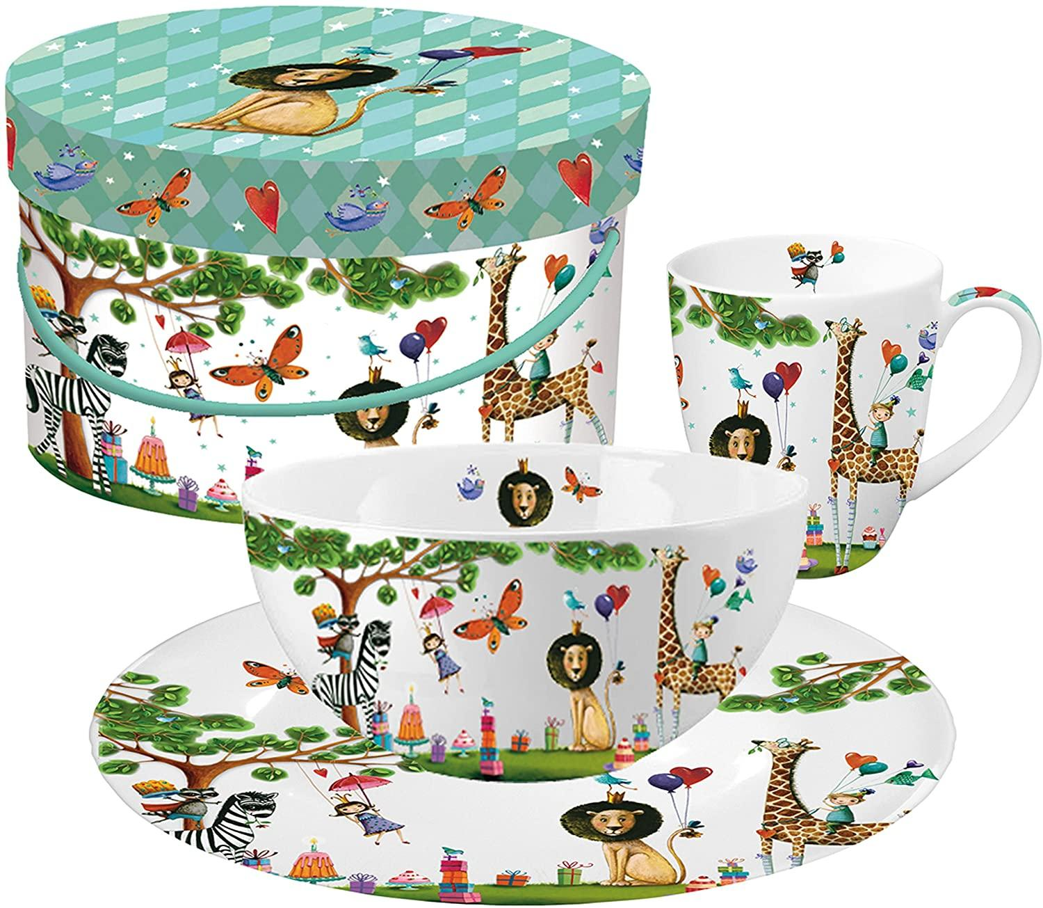 Set per la colazione 3 pz in porcellana New Bone China decorata ppd THE BIRTHDAY OF THE LION