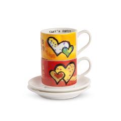 Set 2 tazze caffè con piattino in porcellana  Egan That's amore