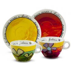 Set 2 tazze cappuccino con piattino in porcellana decorata  Egan PANE AMORE E FANTASIA