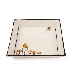 Centrotavola quadrato in ceramica decorata Egan LE CASETTE