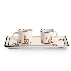 Set 2 tazze caffè con vassoietto in ceramica decorata  Egan LE CASETTE