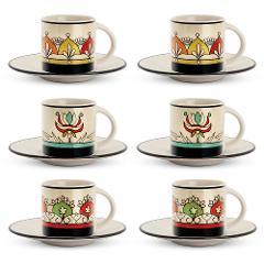 Set 6 tazze caffè con piattino in porcellana decorata  Egan MEDITERRANEO
