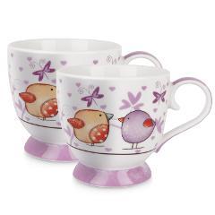 Set 2 tazze colazione in porcellana decorata Egan TEA FOR TWO