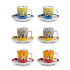 Set 6 tazze caffè con piattino in porcellana decorata  Egan LE CASETTE