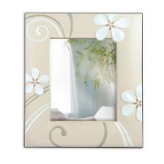 Portafoto specchiera in ceramica decorata e retro legno Egan FLOWER MARGHERITA
