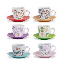 Set 6 tazze caffè con piattino in porcellana decorata  Egan TEA FOR TWO