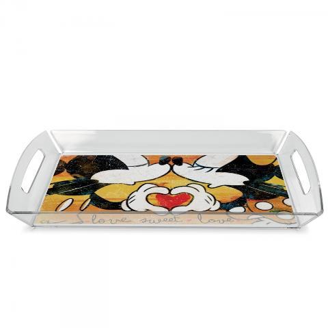 Vassoio in plexiglass con tovaglietta plastificata  Egan LOVE SWEET LOVE