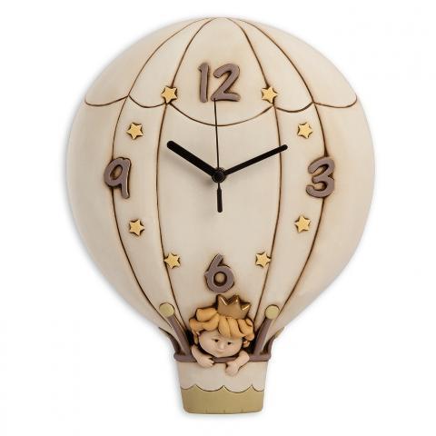 Orologio mongolfiera in ceramica decorata  Egan I PICCOLI PRINCIPI