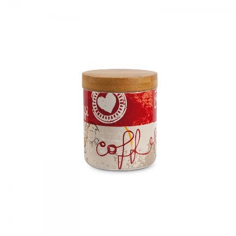 Barattolo in porcellana decorata e legno Egan SALE E PEPE