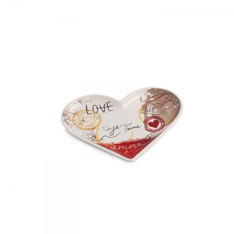 Antipastiera a forma di cuore in porcellana decorata Egan SALE E PEPE