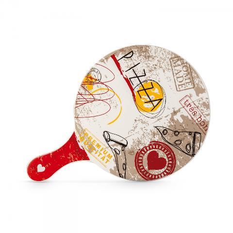 Tagliere rotondo con manico in porcellana decorata  Egan SALE E PEPE