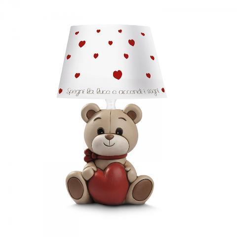 Lampada in ceramica decorata con paralume in materiale plastificato Egan IL MONDO DI OLIVER