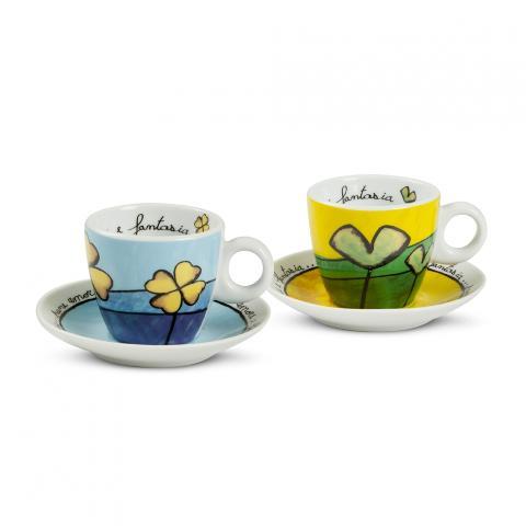 Set 2 tazze caffè con piattino in porcellana  Egan PANE AMORE E FANTASIA