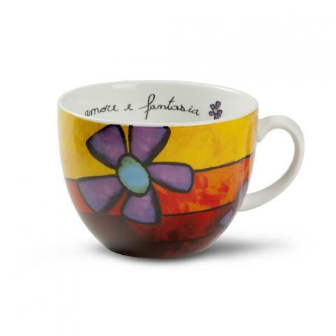 Tazza colazione maxi in porcellana decorata  Egan PANE AMORE E FANTASIA