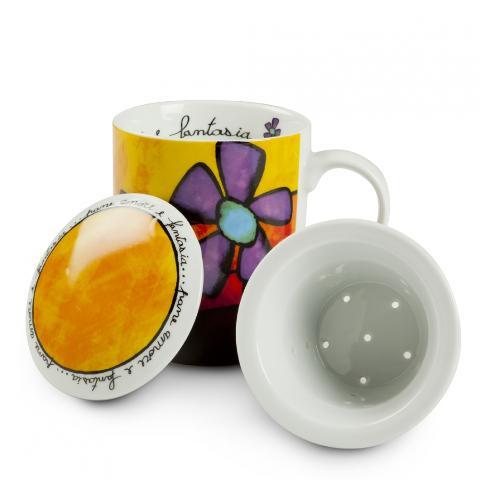 Tazza tisana con infusore in porcellana decorata  Egan PANE AMORE E FANTASIA