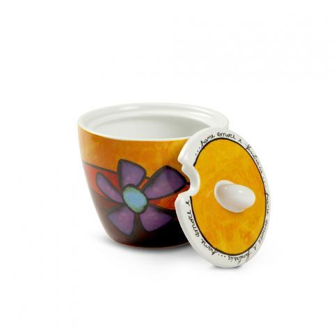 Zuccheriera con coperchio in porcellana decorata  Egan PANE AMORE E FANTASIA