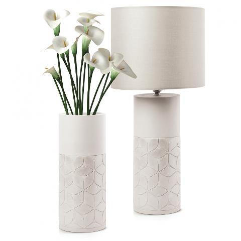 Lampada in ceramica decorata con paralume in tessuto  Egan CAPITONNE'