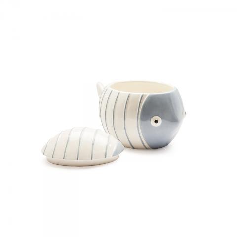 Contenitore con coperchio in ceramica decorata Egan ACQUA DI MARE