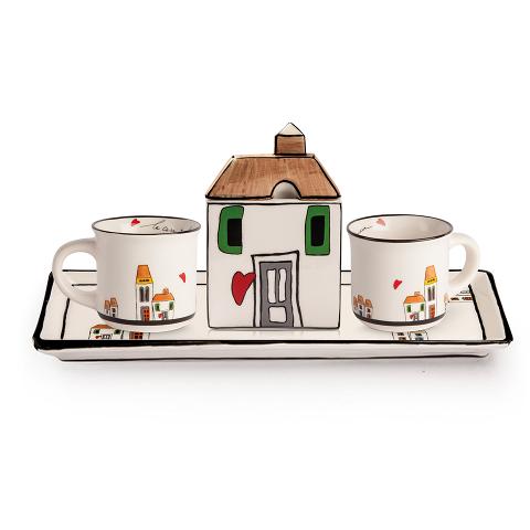 Set 2 tazze da caffe' con vassoietto e zuccheriera in ceramica decorata Egan LE CASETTE