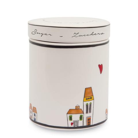 Barattolo con coperchio in ceramica decorata  Egan LE CASETTE