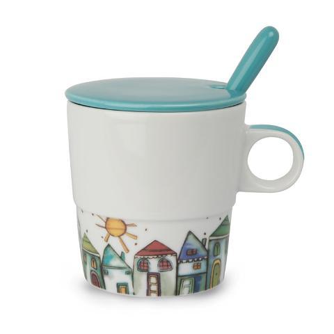 Tisaniera in porcellana decorata con cucchiaino acciaio e porcellana  Egan TEA FOR TWO