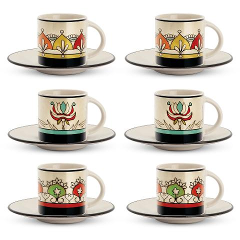 Set 6 tazze caffè con piattino in porcellana decorata  Egan MEDITERRANEO