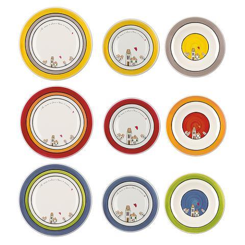 Servizio 18pz piatti in porcellana decorata  Egan LE CASETTE