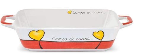 Pirofila rettangolare con manici in porcellana da forno decorata Egan CAMPO DI CUORI