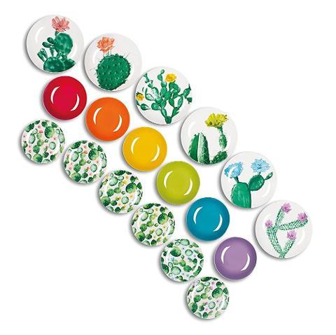 Servizio 18pz piatti in porcellana decorata  Excelsa COLOR CACTUS