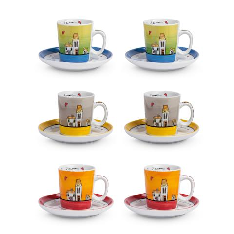 Set 6 tazze caffè con piattino in porcellana decorata  Egan LE CASETTE