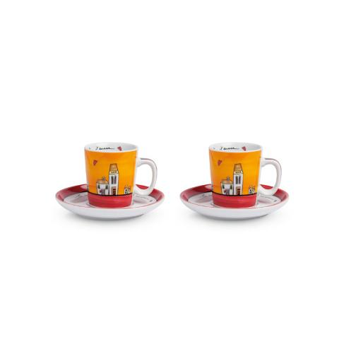 Set 2 tazze caffè con piattino in porcellana decorata Egan LE CASETTE
