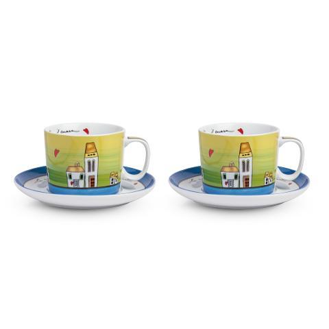 Set 2 tazze colazione con piatto in porcellana decorata Egan LE CASETTE