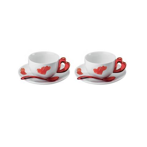 Set 2 tazze cappuccino con piattini in porcellana e cucchiaini in plastica  Guzzini LOVE
