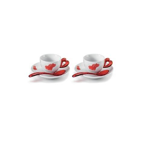 Set 2 tazze caffè con piattino in porcellana e cucchiaini in plastica Guzzini LOVE