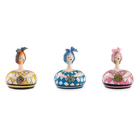 Salvadanaio medio in ceramica decorata a mano decoro fiori Egan LE PUPAZZE