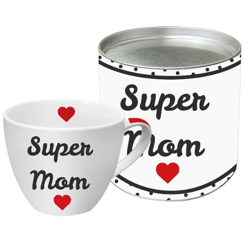 Tazza Big Mug in porcellana New Bone China decorata ppd SUPER MUM