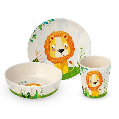 Set pappa 3 pezzi bimbo in bamboo decorato  ppd HAPPY LION