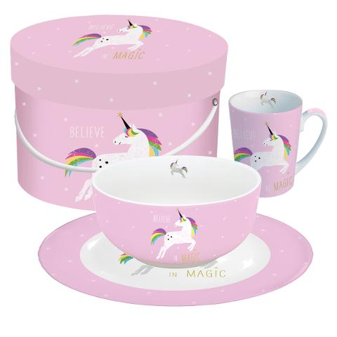 Set per la colazione 3 pz in porcellana New Bone China decorata ppd BELIEVE IN MAGIC