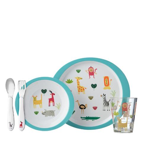 Set pappa bimbi 5 pezzi in melamina decorata  Rosti Mepal ANIMAL FRIENDS