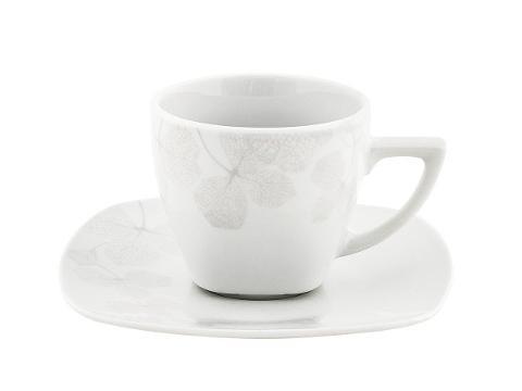 Set 4 tazze da thè con piattino in porcellana Villa Altachiara AMBRA GRIGIA