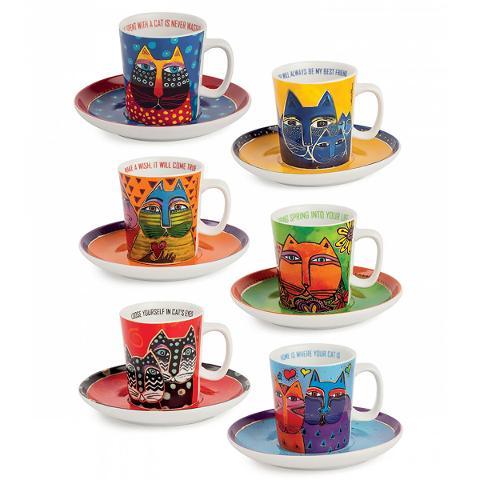 Set 6 tazze caffè con piattino in porcellana decorata  Egan LAUREL BURCH FANTASTIC FELINES