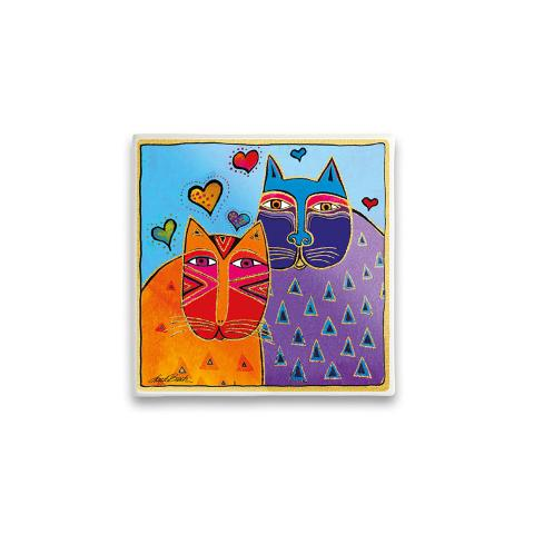 Formella quadrata in ceramica decorata Egan LAUREL BURCH FANTASTIC FELINES