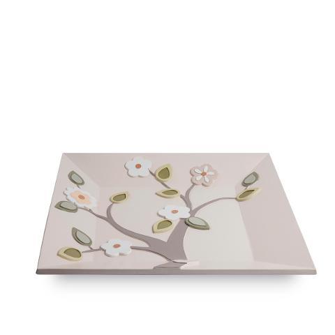 Centrotavola quadrato in ceramica decorata Egan L' ALBERO DELLA VITA