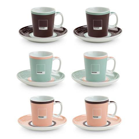 Set 6 tazze caffè con piattino in porcellana decorata  Egan PANTONE