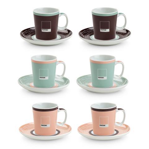 Set 6 tazze caffè con piattino in porcellana decorata  Egan PANTONE